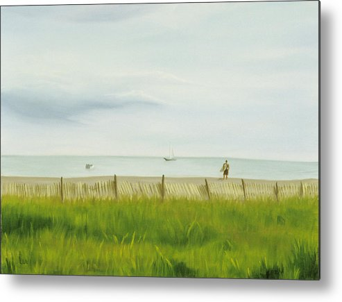 Seascape Metal Print featuring the painting Evening At Cape May by Lea Novak