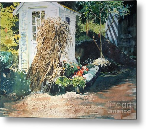 Garden Metal Print featuring the painting Fall At Ivy Corners by Elizabeth Carr