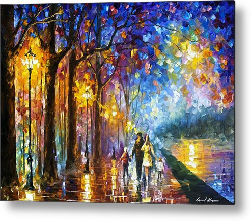 family by the lake palette knife oil painting on canvas by leonid