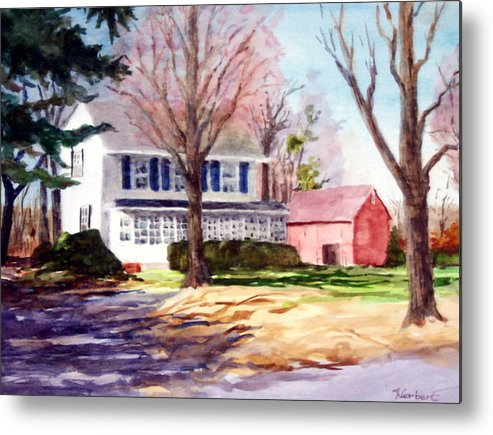Farmhouse With Red Barn Metal Print featuring the painting Farmhouse With Red Barn by Bob Herbert