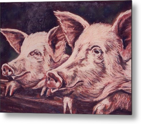 Pigs Metal Print featuring the painting Feedtime by Sue Linton