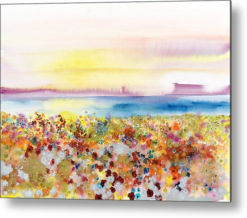 Abstract Metal Print featuring the painting Field Of Joy by Tara Thelen - Printscapes