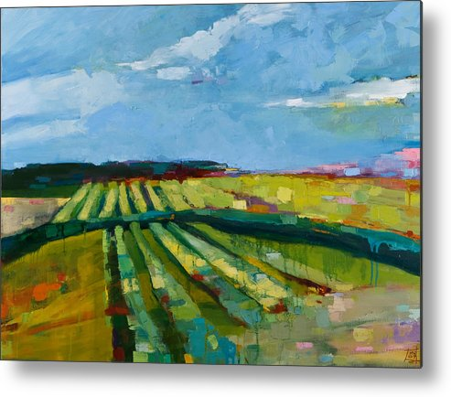 Landscape Metal Print featuring the painting Fine Fields by Michele Norris