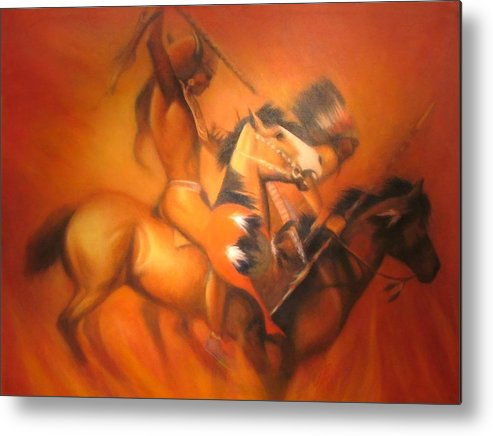 Native American Metal Print featuring the painting Fire Riders by Elizabeth Silk