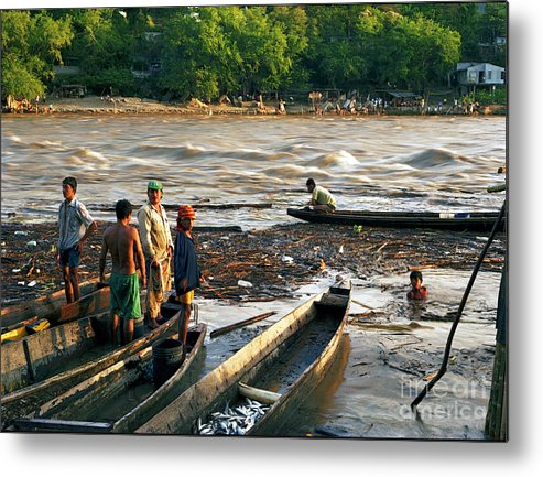 Water Metal Print featuring the photograph Fishing The River Magdalena by Lawrence Costales