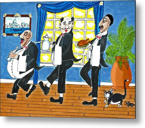 Restaurant Metal Print featuring the painting Five Italian Waiters by Gordon Wendling