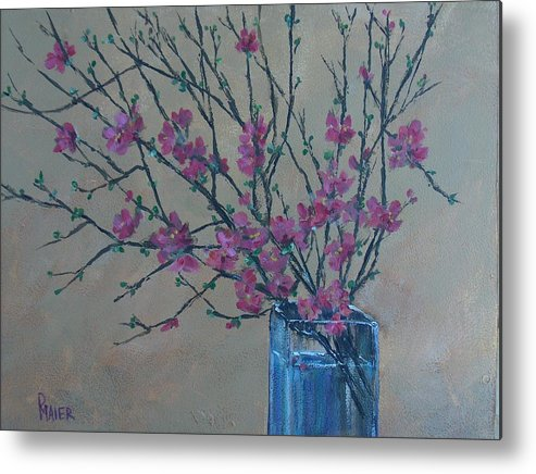 Flowers Metal Print featuring the painting Flowering Quince by Pete Maier