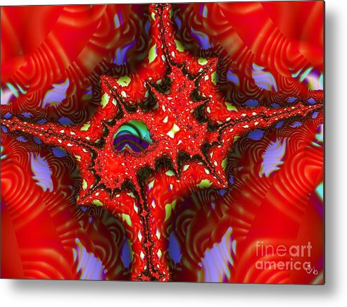 Four Corners Metal Print featuring the digital art Four Corners Seed Pod by Ron Bissett