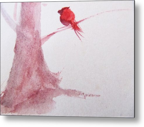 Cardinal Metal Print featuring the painting Frequent Visitor by Trilby Cole