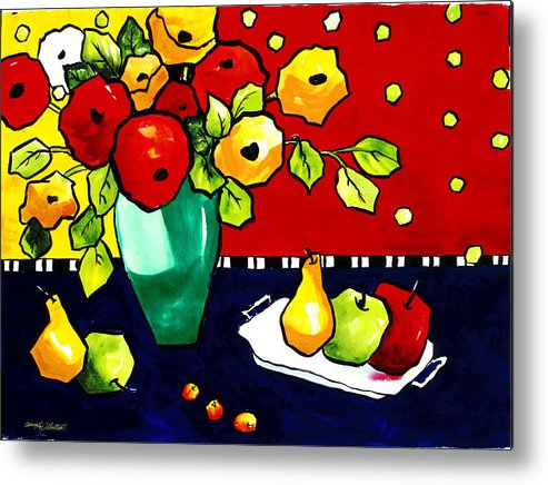 Painting Metal Print featuring the painting Funny Flowers And Fruit by Carrie Allbritton