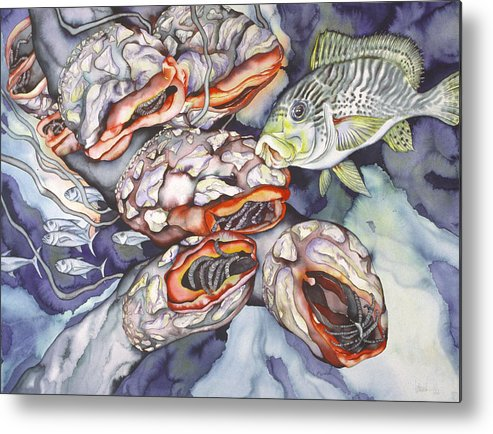 Sealife Metal Print featuring the painting Garden Of Eden by Liduine Bekman