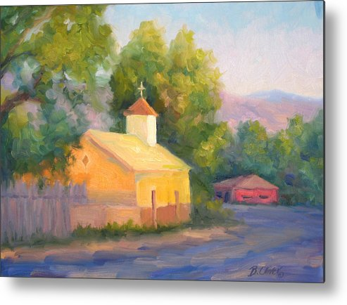 Landscape Metal Print featuring the painting Glow At Vespers by Bunny Oliver