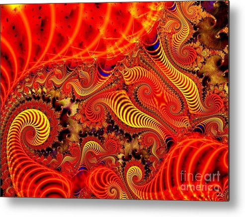 Coils Metal Print featuring the digital art Glow Coils by Ron Bissett