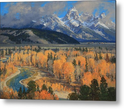 Landscape Metal Print featuring the painting Golden September by Lanny Grant