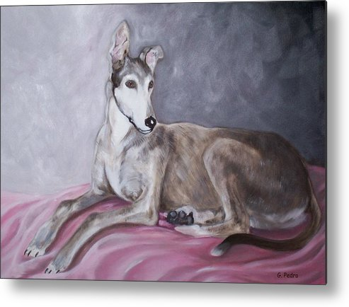 Greyhound Metal Print featuring the painting Greyhound At Rest by George Pedro