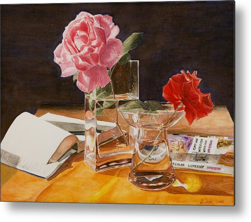 Rose Metal Print featuring the painting Handbuch by Nik Helbig