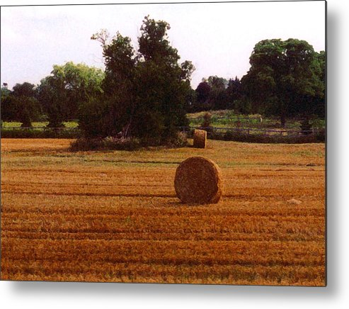 Landscape Metal Print featuring the photograph Hay Rolls 2 Db 2 by Lyle Crump
