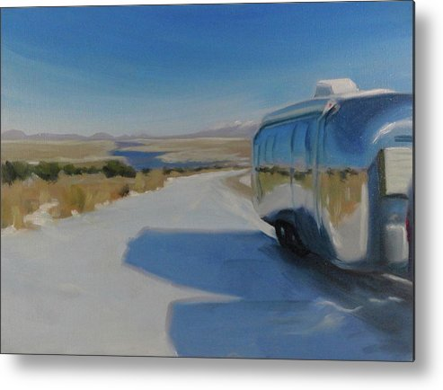 Airstream Metal Print featuring the painting Heading South Out Of The Snow by Elizabeth Jose