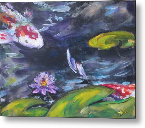 Koi Fish Lily Pad Water Waterscape Green Blue Red Pond Nature Metal Print featuring the painting Heads Or Tails by Alan Scott Craig