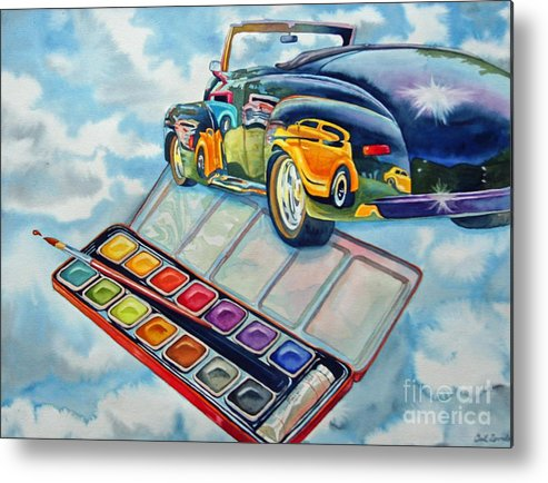 Old Vintage Car Metal Print featuring the painting Heavenly Hotrod by Gail Zavala