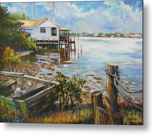 Old Rowboat Metal Print featuring the painting High And Dry by Dianna Willman