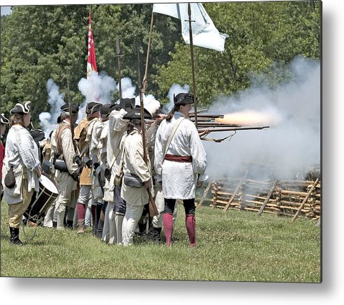 Revolution Battle Flash Musket War Re-enactment Monmouth Metal Print featuring the photograph Hold The Line by Harold Piskiel