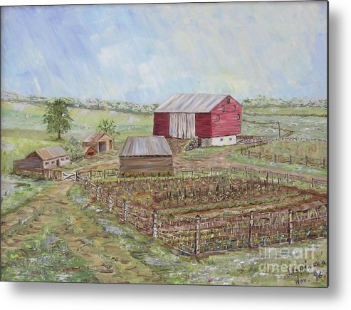 Red Barn With Several Other Small Sheds; Garden In Foreground; Landscape Metal Print featuring the painting Homeplace - The Barn And Vegetable Garden by Judith Espinoza