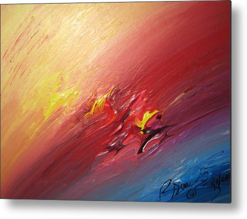 Abstract Metal Print featuring the painting Honeymoon Bliss - A by Brenda Basham Dothage