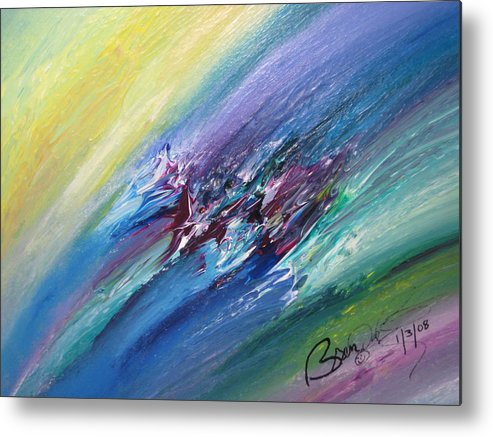 Abstract Metal Print featuring the painting Honeymoon Bliss - C by Brenda Basham Dothage