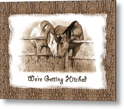 Wedding Invitation Metal Print featuring the drawing Horses Western Wedding Invitation Getting Hitched by Joyce Geleynse