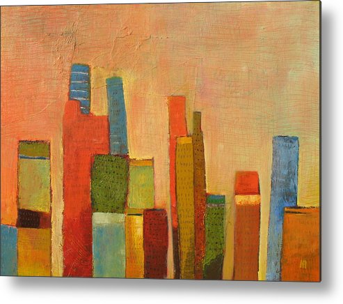 Abstract Cityscape Metal Print featuring the painting Hot Manhattan by Habib Ayat