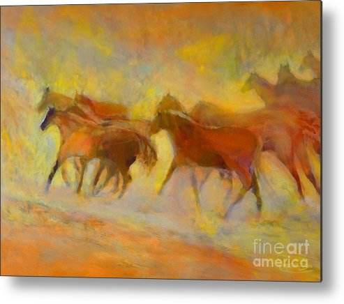Horses Metal Print featuring the painting Hot Things by Kip Decker