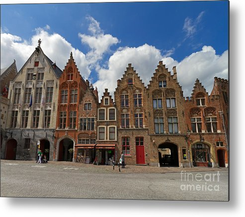 Old Tollhouse Metal Print featuring the photograph Houses Of Jan Van Eyck Square In Bruges Belgium by Louise Heusinkveld