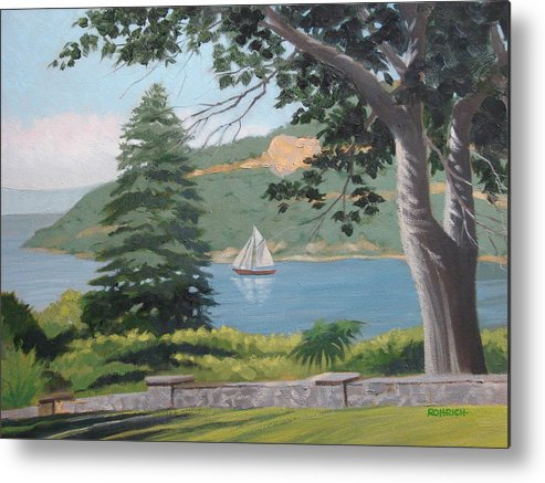 Landscape Waterscape Sail Boat Metal Print featuring the painting Hudson River Schooner by Robert Rohrich