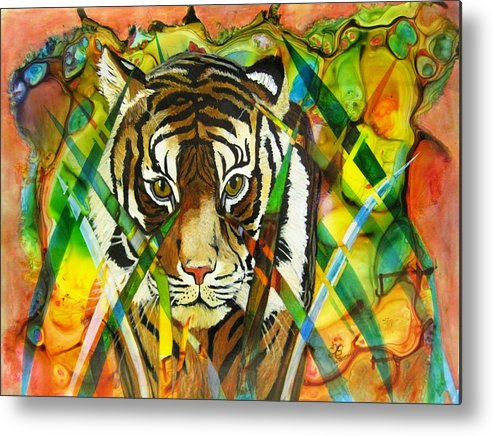 Tiger Metal Print featuring the painting I'm Watching You by David Raderstorf