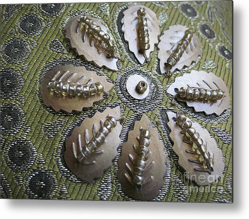 Indian Metal Print featuring the digital art Indian Pillow by Elisabeth Lucas