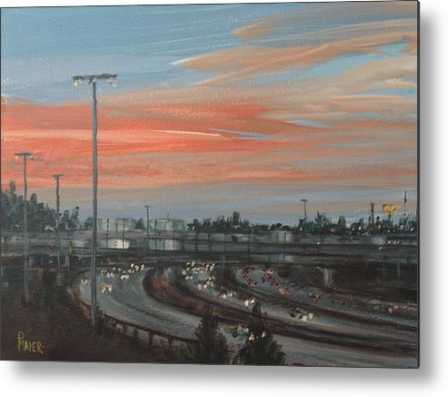 Skyscape Metal Print featuring the painting Interscape 85 by Pete Maier