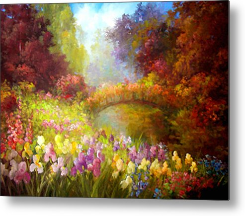Floral Metal Print featuring the painting Iris-- Covered Bridge by Gail Salitui