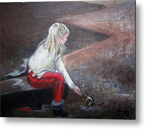 Squirrel Metal Print featuring the painting Jeannie Feeding Squirrel by Tammera Malicki-Wong