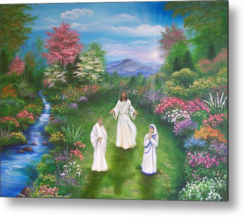 Landscape Metal Print featuring the painting Jesus Mother Theresa And Gandhi by Sundara Fawn