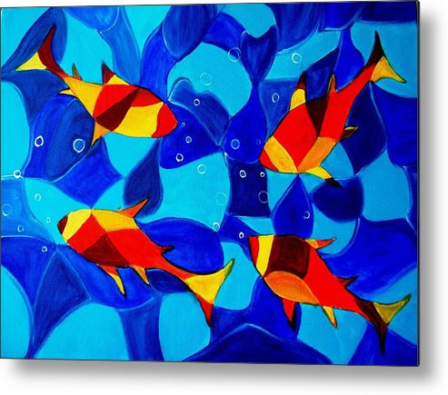 Abstract.acrylic.fish.bubbles.art.painting.modern.contemporary.popblue Red Bubbles Yellow Landscape Metal Print featuring the painting Joy Fish Abstract by Manjiri Kanvinde
