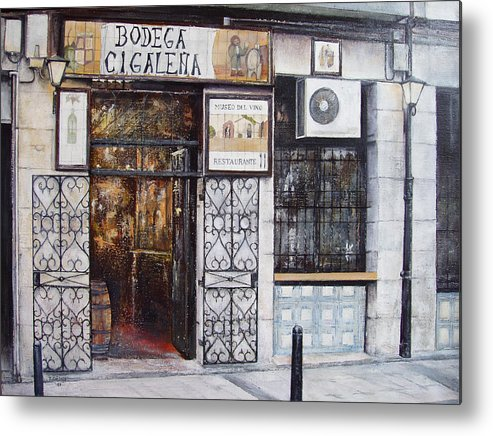 Bodega Metal Print featuring the painting La Cigalena Old Restaurant by Tomas Castano