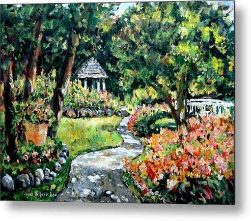 Landscape Metal Print featuring the painting La Paloma Gardens by Ingrid Dohm