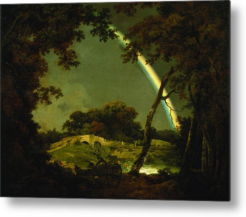 Landscape Metal Print featuring the painting Landscape With A Rainbow by Joseph Wright of Derby