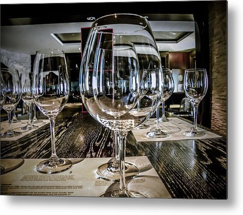 Wine Glasses Metal Print featuring the photograph Let The Wine Tasting Begin by Julie Palencia