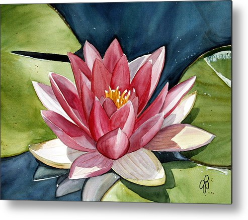 Water Lilly Flower Metal Print featuring the painting Lilly Pond by Julie Pflanzer