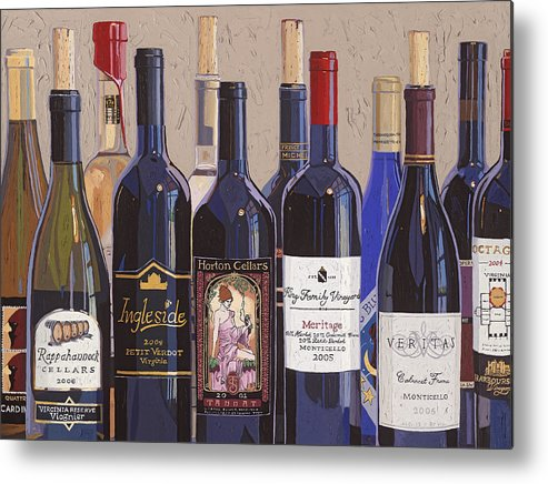 Wine Art Metal Print featuring the painting Make Mine Virginia Wine Number One by Christopher Mize
