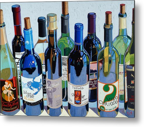 Wine Art Metal Print featuring the painting Make Mine Virginia Wine Number Three by Christopher Mize