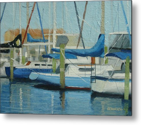 Boat Marinas Metal Print featuring the painting Marina No 4 by Robert Rohrich