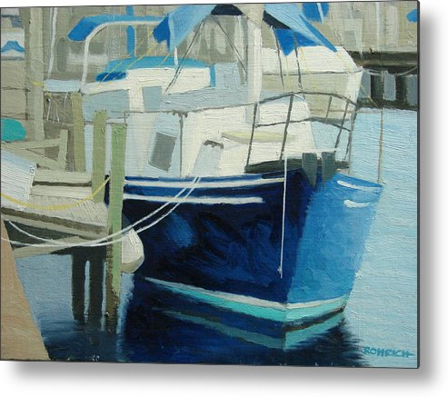 Boat Marinas Metal Print featuring the painting Marina No1 by Robert Rohrich